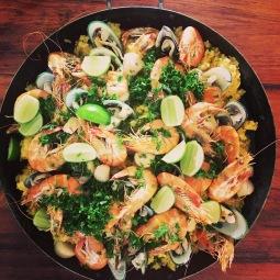 Seafood paella to share